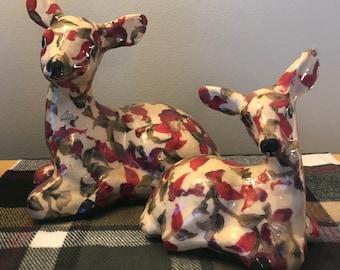 Vintage Decoupage Deer & Fawn Figurines