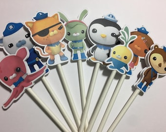 x12 The Octonauts Characters Inspired Cupcake Toppers
