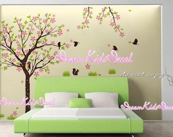 Cherry Blossom Tree wall decals nursery wall decals children girl baby wall decals wall sticker wall decor with woodpecker-DK136