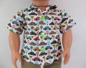 18 inch Boy Doll  Cotton Shirt White with Cars Fits American Girl Doll Clothing Toys