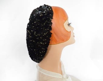 1940s snood hat, vintage black WW2 woman's hat