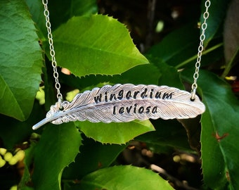 Wingardium leviosa feather quote necklace, feather necklace, levitation spell, feather necklace, metal stamped