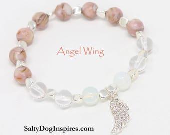 Angel Wing Bracelet, Jewelry Bracelets Beaded Bracelets, Angel Bracelet, Beaded Angel Bracelet, Angel Wing Charm Bracelet, Angel Jewelry