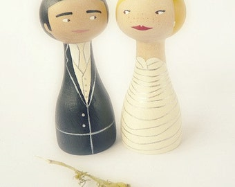 Custom wedding cake topper Personalized FREE SHIPPING wooden peg art doll hand painted ivory black groom bride