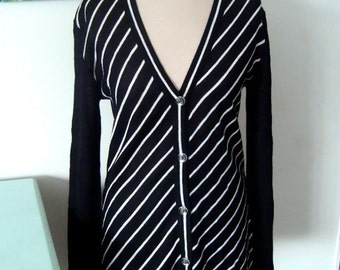 Vintage Black and White Striped Cardigan - Robinsons Size Small to Medium 1960s Geometric Fall Fashion Made in Italy Retro