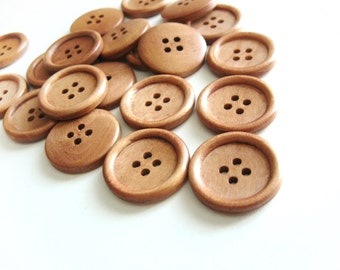 Light coffee brown Wooden Sewing Buttons 25mm - set of 6 natural wood button  (BB126A)