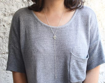 Silver lariat necklace , Silver Y necklace, Delicate Silver Y necklace, Silver Layering Necklace, sterling silver long necklace, Y necklace