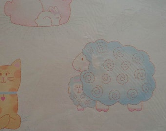 Vintage 1970s Gift Wrap for Baby--2 Sheets NIP-Baby Lamb, Kitten & Bunny