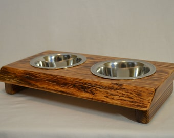 """Dog bowl stand,  """"Pint"""" crafted from live edge fir/cedar beautiful wood decor, perfect for any small dog, """"flame burnished"""" !!"""