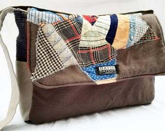 Reversible One Of A Kind Upcycled Quilt Star Messenger Bag