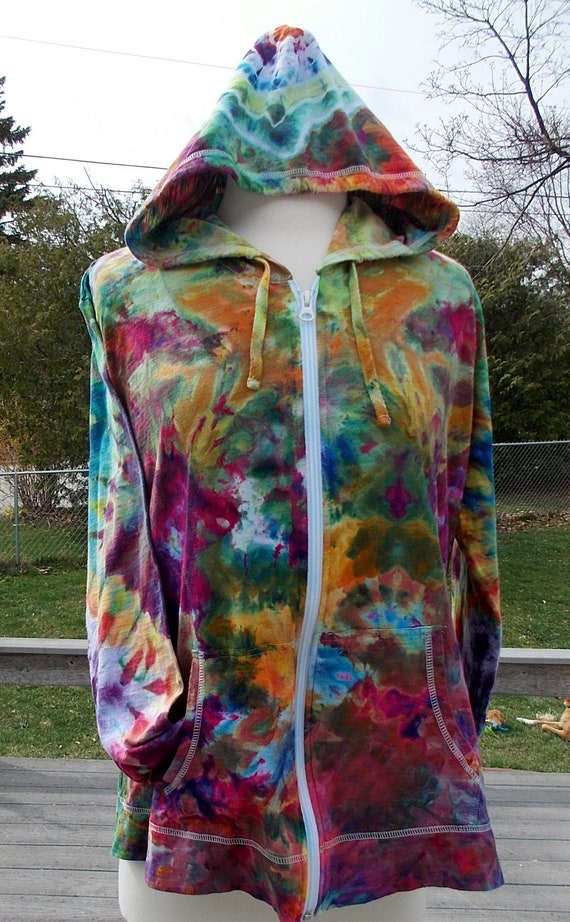 Ladies Lightweight Tie Dye Ice Dye Cotton Zip Hoodie XLarge