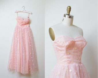 1950s Prom Dress / 50s Pink Polka Dot Tulle Gown