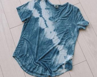 Shibori Indigo Dyed Scoop Neck T Shirt