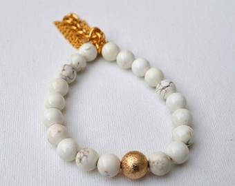 White Howlite Gemstone Tassel Chain Stretch Bracelets // Gold Filled // Stainless Steel Chain // Elastic Bracelets Set Boho Beach Stacked