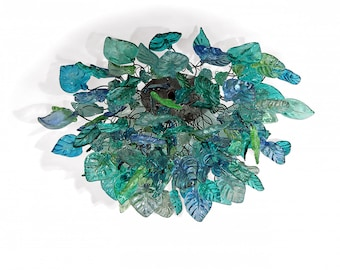 Ceiling Flush mount lighting with Sea color flowers and leaves for Dining Room ,living room bedroom.