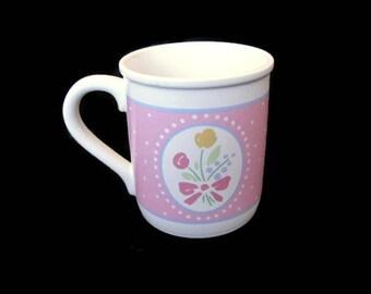 Hallmark Mug Mates Coffee Mug Pink and Floral Springtime Mug 1988