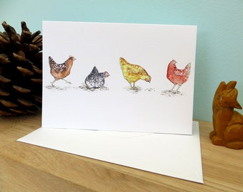 Happy hens watercolour illustration, blank greeting card, chickens, 250gsm 105mm x 148mm, matt card inside, plain white envelope