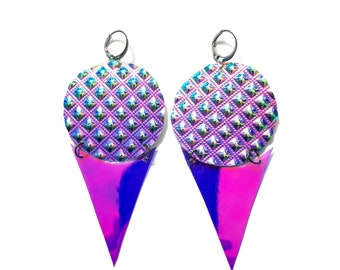 """Holographic Earrings """"Snow Cone"""" festival drag rave ethical vegan cruelty free"""