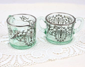 Sugar and Creamer Set, Green Glass with Sterling Overlay, Housewarming Gift Vintage, c1920s, Vintage Tea Party