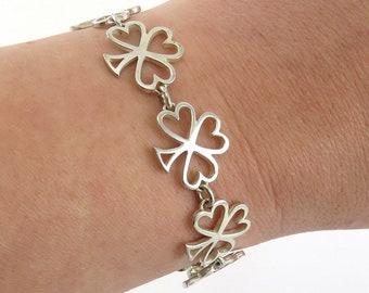 English Sterling Silver 1981 Lucky 4 Leaf Clover Shamrock Link Bracelet