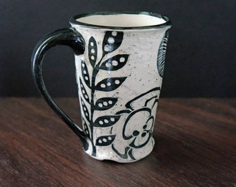 Sgraffito Pottery Coffee Mug with Flower Design - Large Coffee Cup - Wedding Gift - Gift for Her - Gift Under 40 - Gift for Him