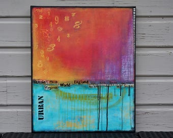 Unique modern bright abstract painting