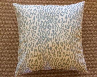 """Sarah Richardson For Kravet """"Kitty Kat"""" in aquamarine pillow cover"""