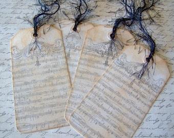 Vintage Musiknoten Motto Geschenkanhänger - Set 4-Tags