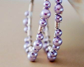 Silver Hoops, Silver Plated Earrings, Genuine Lavender Swarovski Pearls, Wire Wrapped Lace