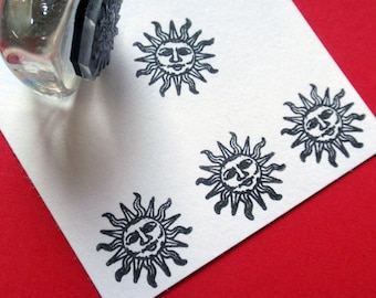 Smiling Sun Rubber Stamp - Handmade rubber stamp by BlossomStamps