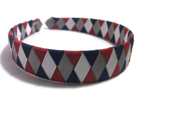 Red, Navy, Silver, White Woven Headband, Braided Headband, Handmade Headband, Handmade To Order, Handmade Accessories, Gifts for Her