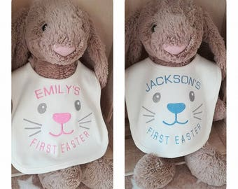 Babies first Easter Bunny bib cute boy girl personalised name embroidered gift