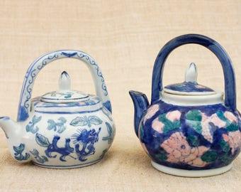Teapots, Collectible Teapots, Floral China, Set of 2 Teapots, Blue China Teapots, Vintage Small Teapot, Vintage China,Chinese teapot, Kettle