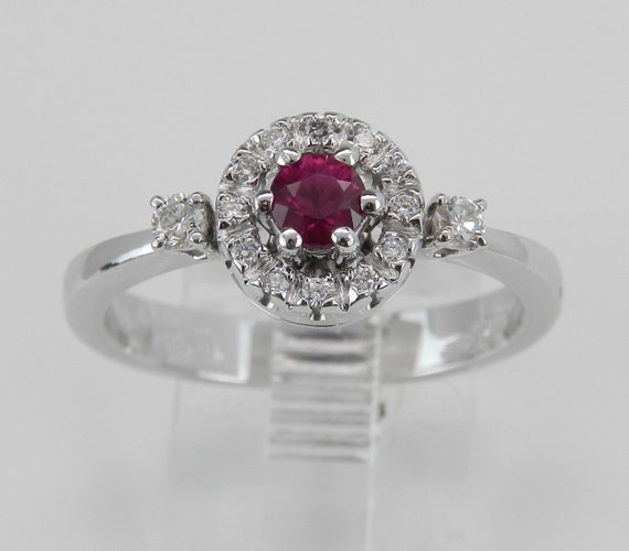 Diamond and Blood Red Ruby Halo Engagement Promise Ring 18K White Gold Size 7.25