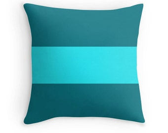 Teal Pillow, Turquoise Pillow, Teal Bedding, Turquoise Pillow Case, Teal Stripe Pillow, Teal Throw Pillow, Turquoise Bedding, Teal Room