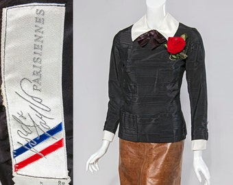 60s Lord & Taylor Parisiennes black grosgrain top with white contrast collar and cuffs | size XS-Small