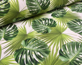 GREEN PALM LEAVES Cotton Fabric for Curtain Upholstery digital tropical leaf print- 140cm wide