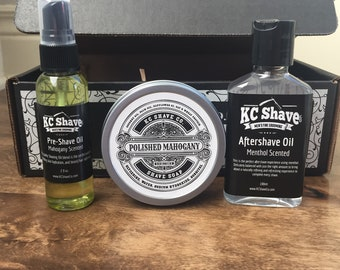 Shaving Essentials. Shave Kit. Fathers Day. Husband Gift. Boyfriend. Groomsmen Gifts. Grooming Kit. Aftershave. Pre-Shave Oil. Shave Soap.