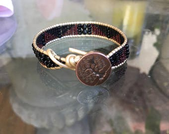 Delicate Tiny Seed Beaded Single Wrap Bracelet with Copper Tree of Life Button Clasp