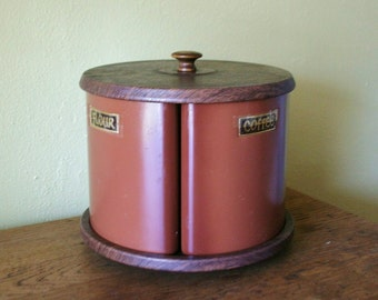 Retro Metal Canister Set - Lazy Susan - Tea, Coffee, Flour, Sugar