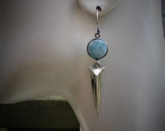Larimar earrings, spike earrings, blue larimar earrings, silver spike earrings, larimar jewelry, larimar earring, gift ideas, gift for her