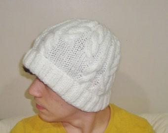 Hand Knit Hat for Mens hat White Hat Men Beanie White Cable Knit Hat White Mens Hat