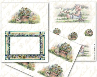 Sunflower Bunny and Frame - Digital Collage Sheet - Instant Download - Printable - Great for Crafting - Bunnies, Teddies, Easter
