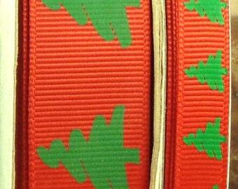 "2 Yards 3/8"" or 7/8"" US Designer Red Holiday Christmas Tree Grosgrain Ribbon Prints"