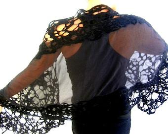 Nunofilzschal, schwarze wickeln, Seide, Chiffon Merinowolle gefilzt Gitter-Schal, echte Handarbeit