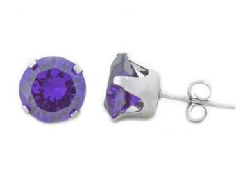 Alexandrite Round Stud Earrings .925 Sterling Silver