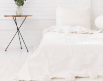 Moroccan Pom Pom Blanket, Cotton Throw. ABD-02-08