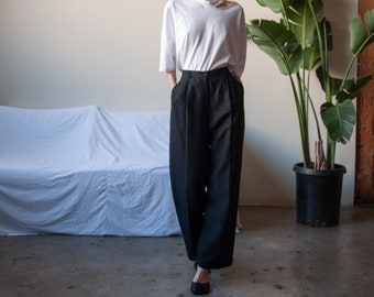 black silk linen pleated pants / roomy relaxed fit woven trousers / high waist cropped trousers / US 6 / 28W / 3503t