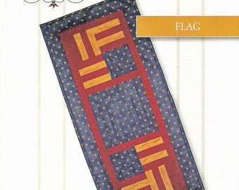 Table Runner Pattern - Flag, Log Cabin Table Runner Pattern