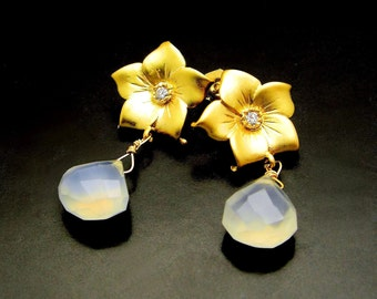 LAVENDER DREAMS ~  Chalcedony, Gold Vermeil Flower Earrings